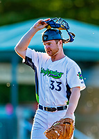 29 August 2019: Vermont Lake Monsters catcher Kyle McCann stands in to warm up a pitcher during a game against the Connecticut Tigers at Centennial Field in Burlington, Vermont. The Lake Monsters fell to the Tigers 6-2 in the first game of their NY Penn League double-header.  Mandatory Credit: Ed Wolfstein Photo *** RAW (NEF) Image File Available ***