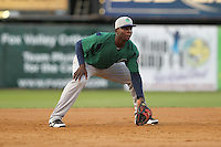 Beloit Snappers third baseman Miguel Sano #33 plays defense during a game against the Kane County Cougars at Fifth Third Bank Ballpark on June 26, 2012 in Geneva, Illinois. Beloit defeated Kane County 8-0. (Brace Hemmelgarn/Four Seam Images)