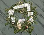 """Holiday Christmas wreath Colonial Williamsburg Virginia, Christmas wreath, Holiday wreath, wreath, wreath with cards and papers,Colonial Williamsburg Virginia is historic district 1699 to 1780 which made colonial Virgnia's Capital, for most of the 18th century Williamsburg was the center of government education and culture in Colony of Virginia, George Washington, Thomas Jefferson, Patrick Henry, James Monroe, James Madison, George Wythe, Peyton Randolph, and others molded democracy in the Commonwealth of Virginia and the United States, Motto of Colonial Williamsburg is """"The furture may learn from the past,"""""""