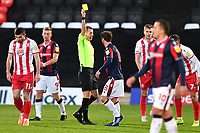 Brandon Comley of Bolton Wanderers F.C. Receives a Yellow Card during Stevenage vs Bolton Wanderers, Sky Bet EFL League 2 Football at the Lamex Stadium on 21st November 2020