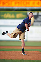 Alexander Witt throws out a first pitch before a game between the Hagerstown Suns and Lexington Legends on May 22, 2015 at Whitaker Bank Ballpark in Lexington, Kentucky.  Lexington defeated Hagerstown 5-1.  (Mike Janes/Four Seam Images)