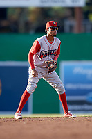 Williamsport Crosscutters shortstop Jonathan Guzman (6) during a game against the Batavia Muckdogs on June 21, 2018 at Dwyer Stadium in Batavia, New York.  Batavia defeated Williamsport 6-5.  (Mike Janes/Four Seam Images)
