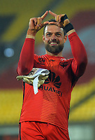 Stefan Marinovic celebrates his clean sheet after the A-League football match between Wellington Phoenix and Western United FC at Sky Stadium in Wellington, New Zealand on Friday, 21 February 2020. Photo: Dave Lintott / lintottphoto.co.nz
