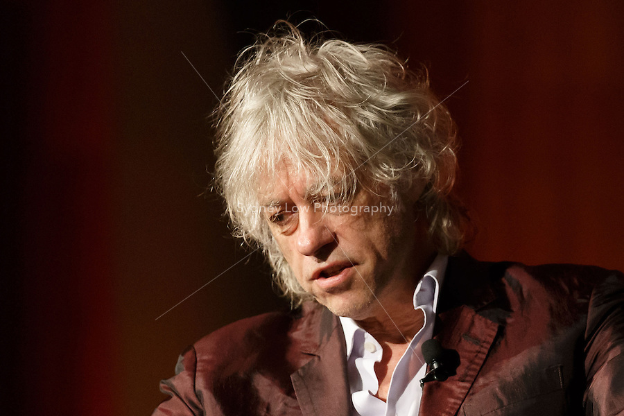 Sir Bob Geldof speaking about HIV and poverty at the 20th International AIDS Conference at the Melbourne Convention and Exhibition Centre on 24 July 2014 in Melbourne, Australia.