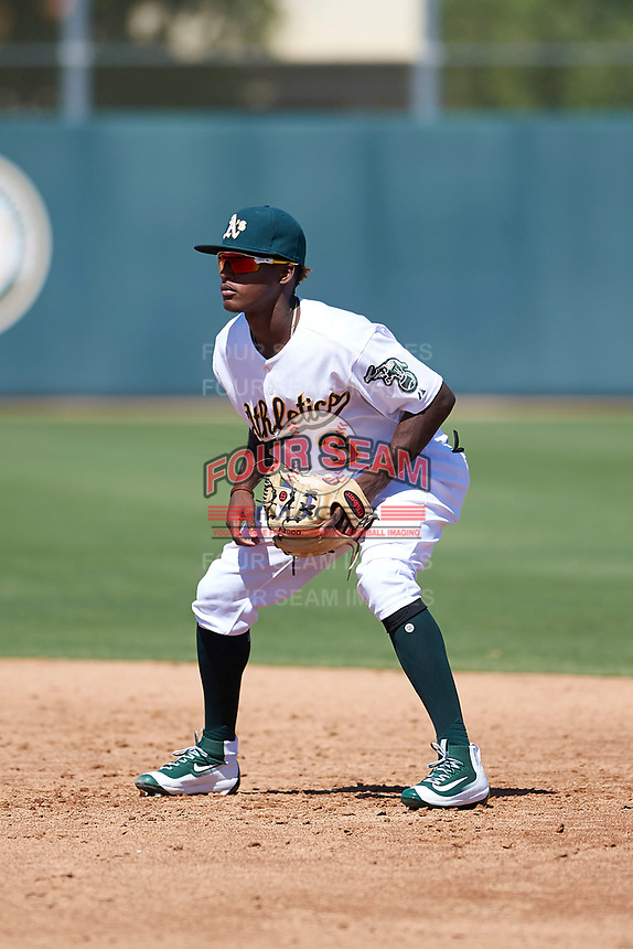 Oakland Athletics second baseman Marcos Brito (3) during an Instructional League game against the Cincinnati Reds on September 29, 2017 at Lew Wolff Training Complex in Mesa, Arizona. (Zachary Lucy/Four Seam Images)