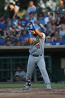 Keibert Ruiz (10) of the Rancho Cucamonga Quakes bats against the Inland Empire 66ers at San Manuel Stadium on July 29, 2017 in San Bernardino, California. Inland Empire defeated Rancho Cucamonga, 6-4. (Larry Goren/Four Seam Images)
