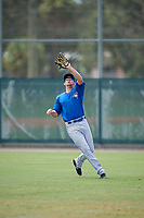 Toronto Blue Jays right fielder J.B. Woodman (28) catches a fly ball during an Instructional League game against the Pittsburgh Pirates on October 13, 2017 at Pirate City in Bradenton, Florida.  (Mike Janes/Four Seam Images)