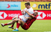 Action from the quarter final between Wales and Canada on day two of the 2018 HSBC World Sevens Series Hamilton at FMG Stadium in Hamilton, New Zealand on Sunday, 4 February 2018. Photo: Joe Johnson / lintottphoto.co.nz