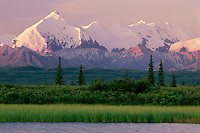 Tundra pond reflects Mount Brooks<br />  from Wonder Lake Road<br /> Denali National Park<br /> Alaskan Range,  Alaska