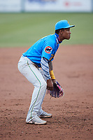 Myrtle Beach Pelicans third baseman Pablo Aliendo (4) on defense against the Lynchburg Hillcats at Bank of the James Stadium on May 22, 2021 in Lynchburg, Virginia. (Brian Westerholt/Four Seam Images)