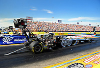 Sept. 24, 2011; Ennis, TX, USA: NHRA top fuel dragster driver Larry Dixon during qualifying for the Fall Nationals at the Texas Motorplex. Mandatory Credit: Mark J. Rebilas-