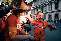 Annemiek van Vleuten (NED/Mitchelton-Scott) retains the rainbow jersey as she once again wins the race<br /> <br /> WOMEN ELITE INDIVIDUAL TIME TRIAL<br /> Hall-Wattens to Innsbruck: 27.8 km<br /> <br /> UCI 2018 Road World Championships<br /> Innsbruck - Tirol / Austria