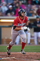 Great Lakes Loons third baseman Mike Ahmed (11) runs to first during a game against the Dayton Dragons on May 21, 2015 at Fifth Third Field in Dayton, Ohio.  Great Lakes defeated Dayton 4-3.  (Mike Janes/Four Seam Images)
