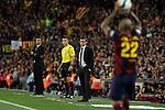 Barcelona´s coach Luis Enrique (L) and Athletic de Bilbao´s coach Ernesto Valverde during 2014-15 Copa del Rey final match between Barcelona and Athletic de Bilbao at Camp Nou stadium in Barcelona, Spain. May 30, 2015. (ALTERPHOTOS/Victor Blanco)