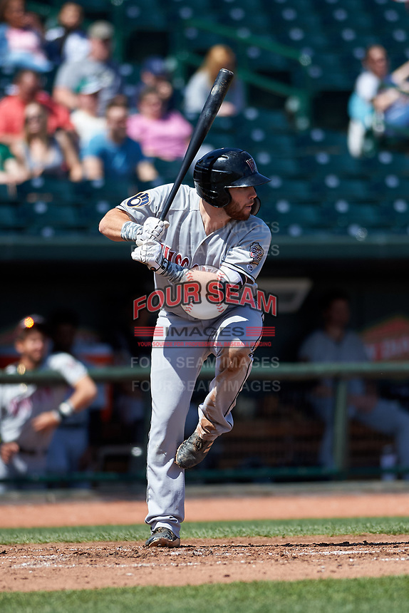 Wisconsin Timber Rattlers David Fry (10) at bat during a Midwest League game against the Great Lakes Loons at Dow Diamond on May 4, 2019 in Midland, Michigan. Great Lakes defeated Wisconsin 5-1. (Zachary Lucy/Four Seam Images)