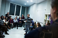 Madrid, Spain, February 12, 2015. Members of the left wing [party] Podemos holds their weekly meeting in Salamanca's neighbourhood in Madrid.
