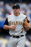 Jack Wilson of the Pittsburgh Pirates during a game against the Los Angeles Dodgers in a 2007 MLB season game at Dodger Stadium in Los Angeles, California. (Larry Goren/Four Seam Images)