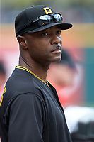 Pittsburgh Pirates Assistant Field Coordinator Bobby Scales looks on from the dugout during the International League game between the Indianapolis Indians and the Charlotte Knights at BB&T BallPark on August 22, 2018 in Charlotte, North Carolina.  The Indians defeated the Knights 6-4 in 11 innings.  (Brian Westerholt/Four Seam Images)