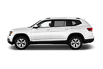 Car driver side profile view of a 2018 Volkswagen Atlas SEL 5 Door SUV