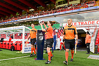 referees Irmgard Van Meirvenne and assistants Tom Verheye and Joachim Vercamer pictured entering the pitch during a female soccer game between Zulte Waregem and the KAA Gent Ladies on the fourth matchday of the 2020 - 2021 season of Belgian Scooore Womens Super League , saturday 10 October 2020  in Waregem , Belgium . PHOTO SPORTPIX.BE | SPP | DAVID CATRY