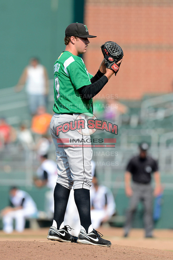 Dayton Dragons pitcher Joel Bender (19) during a game against the Lansing Lugnuts on August 25, 2013 at Cooley Law School Stadium in Lansing, Michigan.  Dayton defeated Lansing 5-4 in 11 innings.  (Mike Janes/Four Seam Images)