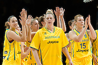 Melbourne, 15 August 2015 - The Australian team celebrate their win in game one of the 2015 FIBA Oceania Championships in women's basketball between the Australian Opals and the New Zealand Tall Ferns at Rod Laver Arena in Melbourne, Australia. Aus def NZ 61-41. (Photo Sydney Low / sydlow.com)