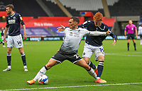 3rd October 2020; Liberty Stadium, Swansea, Glamorgan, Wales; English Football League Championship, Swansea City versus Millwall; Connor Roberts of Swansea City holds off the challenge from Ryan Woods of Millwall