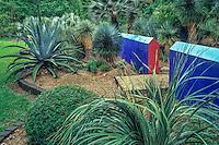Peckerwood Garden Texas- painted walls and gravel path in cactus hardy succulent garden