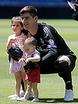 Real Madrid's new player Thibaut Courtois with his children Adriana and Nicolas during his official presentation. August 9, 2018. (ALTERPHOTOS/Acero)