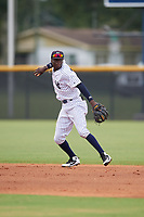 GCL Yankees East shortstop Angel Rojas (20) throws to first base during a Gulf Coast League game against the GCL Phillies East on July 31, 2019 at Yankees Minor League Complex in Tampa, Florida.  GCL Phillies East defeated the GCL Yankees East 4-3 in the second game of a doubleheader.  (Mike Janes/Four Seam Images)
