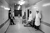 Moscow, Russia.Emergency ward.1994.All doctors leave the emergency ward when an x-ray is taken.