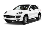 2017 Porsche Cayenne - 5 Door SUV Angular Front stock photos of front three quarter view
