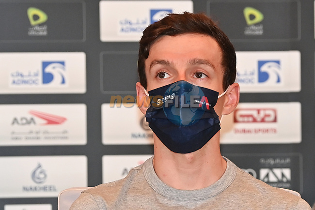 Adam Yates (ENG) Ineos Grenadiers at the top riders press conference before the 2021 UAE Tour held at Yas Marina Hotel, Yas Island, Abu Dhabi, UAE.   <br /> Picture: LaPresse/Gian Mattia D'Alberto   Cyclefile<br /> <br /> All photos usage must carry mandatory copyright credit (© Cyclefile   LaPresse/Gian Mattia D'Alberto)