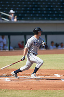 Peoria Javelinas designated hitter Joe McCarthy (21), of the Tampa Bay Rays organization, follows through on his swing during an Arizona Fall League game against the Mesa Solar Sox at Sloan Park on October 24, 2018 in Mesa, Arizona. Mesa defeated Peoria 4-3. (Zachary Lucy/Four Seam Images)