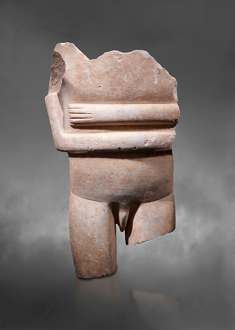 Ancient Greek Cycladic statue torso fragment: Canonical spedos variety , Early Cycladic period II, Syros phase 2800-2300 BC. Cycladic Museum of Art, Athens.  Grey Background. <br /> <br /> Arrtibuted to 'Goulandris Master'.  A very rare unique example of a canonical Spedos variety Cycladic statue of a male. The genetals are carved in the round in a naturalistic manner and unusually the forearms dont touch as in the female figures. This is a totaly unique example of a Cycladic canonical male figure of monumental dimensions.