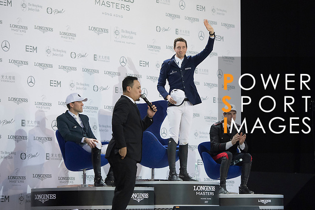 Martin Fuchs of Switzerland wins the Hong Kong Jockey Club Trophy competition, part of the Longines Masters of Hong Kong on 10 February 2017 at the Asia World Expo in Hong Kong, China. Photo by Victor Fraile / Power Sport Images