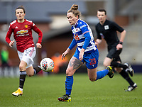 7th February 2021; Leigh Sports Village, Lancashire, England; Women's English Super League, Manchester United Women versus Reading Women; Rachel Rowe of Reading controls the ball