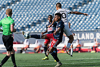FOXBOROUGH, MA - JULY 25: USL League One (United Soccer League) match. Orlando Sinclair #99 of New England Revolution II attempts to control the ball during a game between Union Omaha and New England Revolution II at Gillette Stadium on July 25, 2020 in Foxborough, Massachusetts.