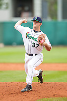 Cedar Rapids Kernels pitcher Hudson Boyd #37 pitches during a game against the Kane County Cougars at Veterans Memorial Stadium on June 9, 2013 in Cedar Rapids, Iowa. (Brace Hemmelgarn/Four Seam Images)