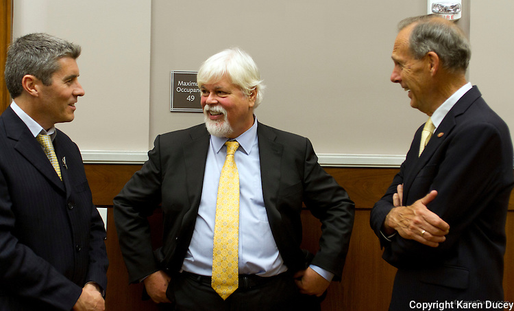 PAUL WATSON, Founder of the Sea Shepherd Conservation Society, jokes with Co-Directors of Sea Shepherd Australia Jeff Hansen (left), and Bob Brown (right) prior to his testimony in a civil hearing in the United States Court of Appeals, Ninth Circuit in Seattle, Washington under Commissioner Peter L. Shaw in Seattle, Wash. on November 6, 2013. The Institute of Cetacean Research, Kyodo Senpaku Kaisha, Ltd., and other Japanese seafood business leaders claim Watson and the Sea Shepherd ships disrupted their whale hunt in the Southern Ocean during the 2012-2013 whaling season thereby violating an injunction they brought up against him issued by the court last December. (copyright KarenDucey.com)