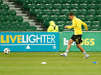 23rd May 2021; HBF Park, Perth, Western Australia, Australia; A League Football, Perth Glory versus Macarthur; Matthew Derbyshire of Macarthur FC warms up before the start of the match against Perth Glory
