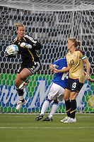 USA's Kristine Lilly has her shot shoped by   Finland goalkeeper Tinja-Riikka Korpela. The USA women's national team defeated Finland 4-0 at the Home Depot Center in Carson, CA, on August 25, 2007. (Photo by Matt A. Brown/ISIphotos.com)