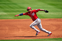 Washington Nationals Juan Soto (22) running the bases during a Major League Spring Training game against the New York Mets on March 18, 2021 at Clover Park in St. Lucie, Florida.  (Mike Janes/Four Seam Images)