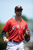 Erie Seawolves center fielder Connor Harrell (10) jogs to the dugout during a game against the Altoona Curve on July 10, 2016 at Jerry Uht Park in Erie, Pennsylvania.  Altoona defeated Erie 7-3.  (Mike Janes/Four Seam Images)