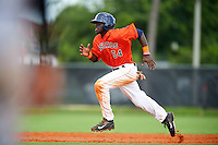 GCL Astros outfielder Daz Cameron (54) steals third during a game against the GCL Braves on July 23, 2015 at the Osceola County Stadium Complex in Kissimmee, Florida.  GCL Braves defeated GCL Astros 4-2.  (Mike Janes/Four Seam Images)
