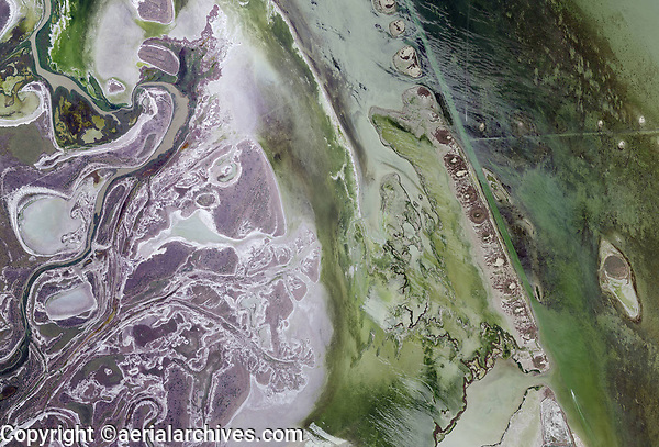 aerial map view of Gulf Coast wetlands, Cameron County, Texas