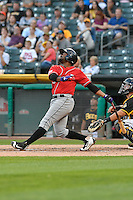 Chris Nelson (3) of the Albuquerque Isotopes follows through on his swing against the Salt Lake Bees during the Pacific Coast League game at Smith's Ballpark on August 30, 2016 in Salt Lake City, Utah. The Bees defeated the Isotopes 3-2. (Stephen Smith/Four Seam Images)