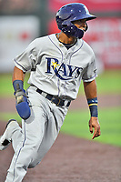 Princeton Rays shortstop Wander Franco (6) rounds third base during a game against the Johnson City Cardinals at TVA Credit Union Ballpark on August 9, 2018 in Johnson City, Tennessee. The Rays defeated the Cardinals 10-2. (Tony Farlow/Four Seam Images)