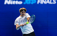 18th November 2020, O2, London, England; Alexander Zverev of Germany hits a return during the singles group match against Diego Schwartzman of Argentina at the ATP  finals in London