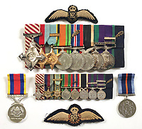 BNPS.co.uk (01202) 558833<br /> Pic: MarlowsAuctioneers/BNPS<br /> <br /> Pictured: Flt Lt Sparks' medals, including a prestigious Air Force Cross, are going under the hammer with Marlows Auctioneers, of Stafford, Staffs.<br /> <br /> The medals of a hero of the legendary Operation Jericho raid who dive-bombed a Gestapo prison at just 10ft have sold for over £15,000.<br /> <br /> Flight Lieutenant Maxwell Sparks pulled off the daring manoeuvre during the daylight attack on the heavily-defended Amiens Prison in northern France in February 1944.<br /> <br /> Positioned third in the attack's first wave, he bombarded the German guards' quarters at 'tree-top height' then ascended just in time to miss the prison's roof.